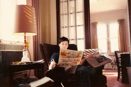 Reading the funnies one Sunday morning in1989