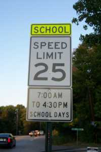 School speed limit sign, Crooked Creek