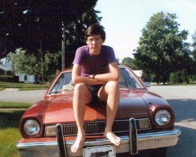 Me on my 1975 Ford Pinto, 1986