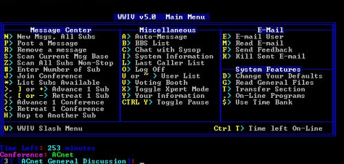 WWIV's main menu