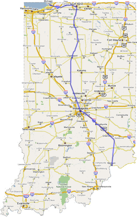 Michigan And Indiana Map.Adding The Michigan Road To The Modern Indiana Highway System Down